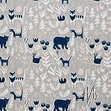 MIRABLAU DESIGN Stoffverkauf bio Baumwolle grau Popeline GOTS Tiere im Wald auf grau (16-079M) 0,5m