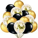 50 Globos Oro y Negro Globos de Confeti Confetti Balloon. Globo Transparente con Confeti Dorado para Fiesta de Cumpleaño, Gra