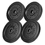 GORILLA SPORTS® Hantelscheiben-Set Gusseisen 30 kg - Gewichte mit 30/31 mm Bohrung in Schwarz