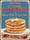 Buttermilk Pancakes mit whipped butter und ahorn sirup Alle belag und Füllung. Amerikanisch / Kanadische Frühstück. Retro vintage alt design Werbung 50er jahre. Ideal für haus, heim, verbindung, cafe, küche, laden oder pub, B&B oder hotel Metall/Stahl Wandschild - 15 x 20 cm
