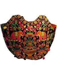 Bolso indio algodón multicolor negro elefantes bordado espejitos bolsa accesorio