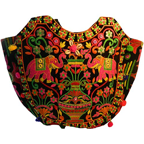 Indische Baumwolltasche bunt schwarz Elefanten Stickereien Spiegel Tasche Accessoire