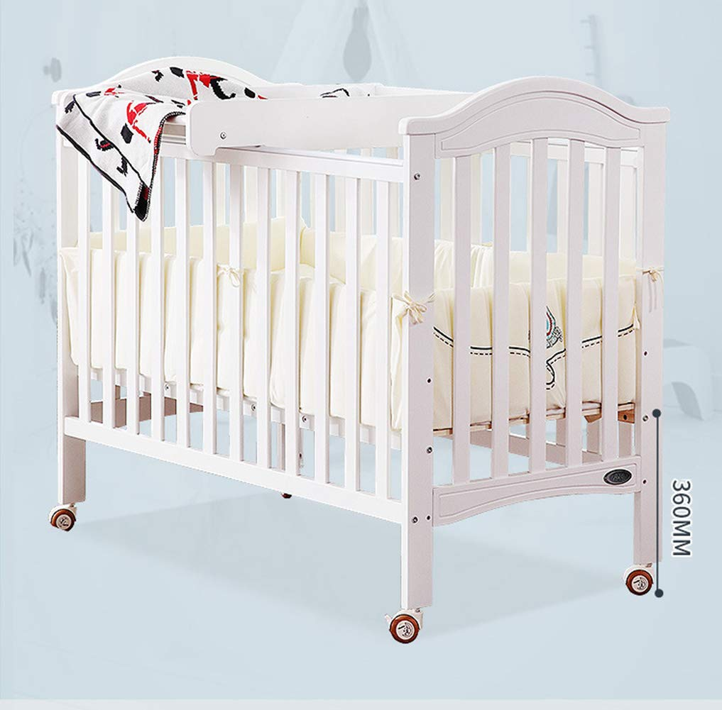 XUNMAIFLB Removable Solid Wood Baby Cot Bed, Multifunctional, Baby Bed/children's Bed/Game Bed with Roller (inner Diameter: 1200 * 600mm) Safety XUNMAIFLB Can be spliced with the big bed, convenient for the mother to take care of the baby's full water bed board, real material, no blister, no insects, tight structure, texture and tough and delicate. Rugged and durable: the wood is durable, oil-free, non-discoloring, and does not crack, increasing the life of the bed. Strong load-bearing solid wood bed: widened thick row skeleton + moon boat coconut palm mattress static load capacity 50kg. 4