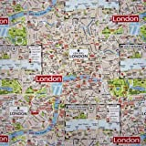 Stoff Meterware Stadtplan London Map bunt Karte Dekostoff