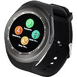 YUNTAB Watch Bluetooth Smart Watch Fitness Handgelenk-Verpackungs-Uhr-Telefon Touch Screen für iPhone Samsung HTC LG Android Phone Smartphone mit SIM-Karte (Schwarz)