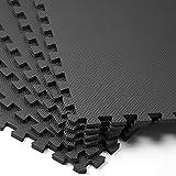 Schutzmatte 6er Set - Matte Fitnessmatte Unterlegmatte Puzzlematte Yogamatte Bodenschutz ✔ Stecksystem ✔ hohe Flexibilität ✔ rutschfest ✔ geräuschdämmend ✔ wärmeisolierend ✔ schneller Aufbau ✔ EVA Schaumstoff ✔ Schwarz