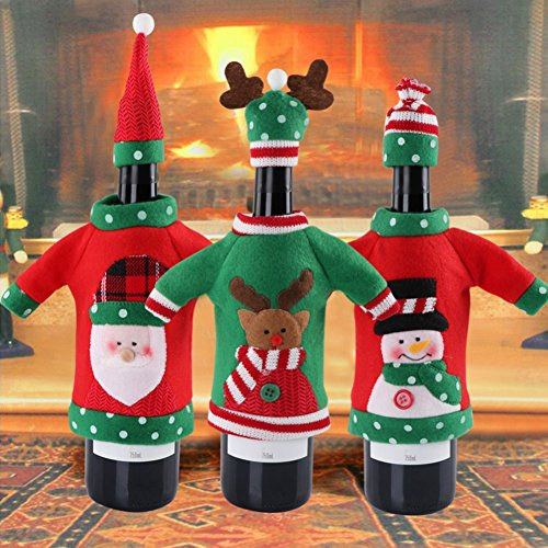 ShineBlue 3PCS New Year Decoration Red Wine Bottle Cover Office Ugly Sweater Party Products Gifts Home Xmas Party Decor Supplies 01 (Xmas Ideen Ugly Sweater)
