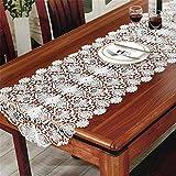 Wghz Roieters Bureau Drapeau Blanc Broderie Table Chemin De Table Dentelle Meuble TV Drapeau Drapeau Blanc Lit Drapeau Table Tapis De Table Tissu Blanc 50x120cm