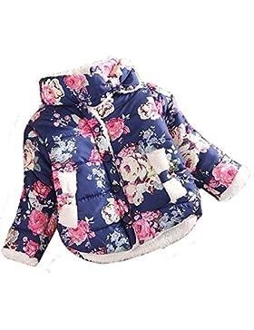 Gaorui Baby Kleinkind Winterjacke Gesteppte Steppjacke Outdoor Mantel Fleecefutter Blumendrucken Muster