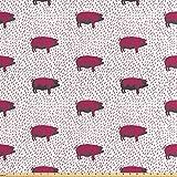 ABAKUHAUS Tier Stoff als Meterware, Hausschweine Schwein