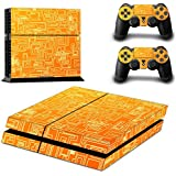 DOTBUY Ps4 Playstation 4 Consola Design Foils Vinyl Skin Sticker Decal Pegatina And 2 Dualshock Controlador Skins Set (Orange Maze)