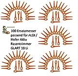 100 Kunststoffmesser/Ersatzmesser / Schneidplättchen/Messer Passend für Akku Rasentrimmer Gardenline GLART 18 Li von ALDI/Hofer