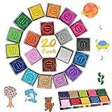 Tampone di inchiostro, DazSpirit 20 colori Timbri del tampone di inchiostro di impronte digitali Partner Diy Color lavabile per l'immaginazione di Kid Timbro di gomma Scrapbooking Card Making
