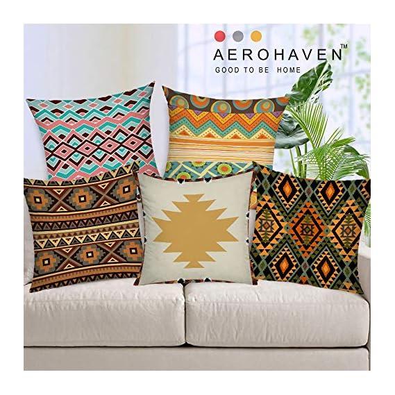 AEROHAVENTM Set of 5 Decorative Hand Made Jute Throw/Pillow Cushion Covers - CC-150