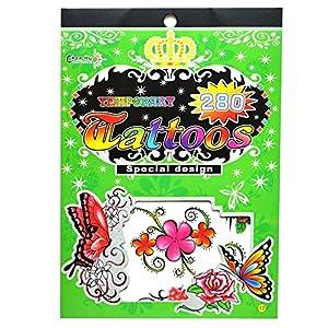Gifts 4 All Occasions Limited SHATCHI-1013 No. 17 - Pegatina para bolsa de fiesta (impermeable, no tóxica, diseño de tatuajes), multicolor