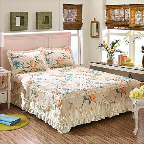Baumwolle Bett Rock, Spitze Bett Volant Tagesdecke Mit rüschen Gesteppter Faltenresistent und ausbleichen beständig Hotel qualität-T Bettbezug200x230cm