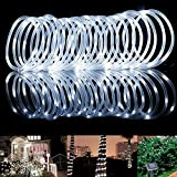 Christmas Decorations MeiKee 100 LED Solar Rope Lights, 33ft,Daylight White, Outdoor Waterproof Solar Rope Lights , Ideal for Decorations, Christmas,Gardens, Lawn, Patio, Weddings, Parties.[Energy Class A+]