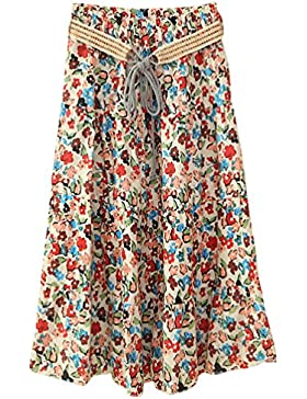 ZKOOO Mujeres Midi Falda Verano Estampado Floral Bohemia Corto Faldas de Playa Cintura Alta A-Line Skirts