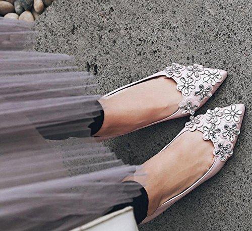 SHINIK Women's Closed-Toe Pumps Stereo Blumen High Heels Pearl Pink Black Court Schuhe Sandalen Pink