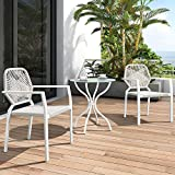 3 Stück Allwetter-Outdoor-Bistro-Set, Indoor-und Outdoor-Bistrotisch und Stuhl-Set, Resin Wicker Outdoor Patio Möbel Ess-Set (Beige)