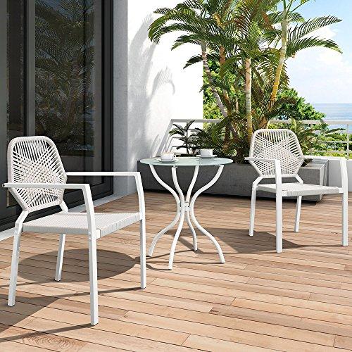 3 Stück Allwetter-Outdoor-Bistro-Set, Indoor-und Outdoor-Bistrotisch und Stuhl-Set, Resin Wicker Outdoor Patio Möbel Ess-Set - Wicker Couchtisch Große