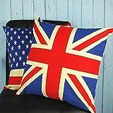 Miya® 1 Stück groß Großbritannien Fahne hochwertige Kissenbezug aus Baumwoll Sofakissen Kissenbezug Geschenk
