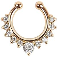 Chandrika Pearls Gems & Jewellers Silver Metal Crystal Gold-Plated Brass Septum Nose Ring for Women and Girls