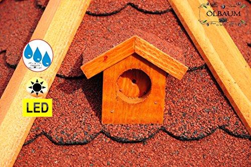 Vogelhaus XXL Premium, ca. 70-75 cm, wetterfest Massivdach, mit Silo,Futtersilo für Winterfütterung,mit Beleuchtung LED-Licht -Holz Nistkästen & Vogelhäuser- aus Holz mit Silo Holz rot ohne Ständer rot BGXL75roOS - 5