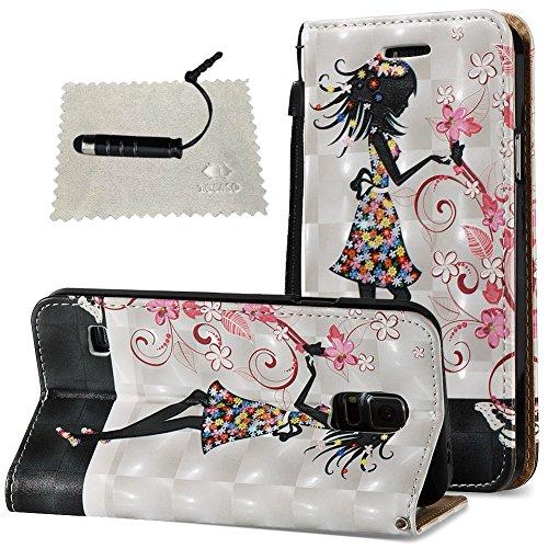 Hülle für Samsung Galaxy S5 Leder Hülle, SchutzHülle Wallet Flip für Samsung Galaxy S5, Case Glitter SchutzHülle Cover Wallet Case Hülle Magnet Leder Hülle für Weiblich - Hübsches Mädchen (Wallet Phone Case-mädchen Samsung S5)