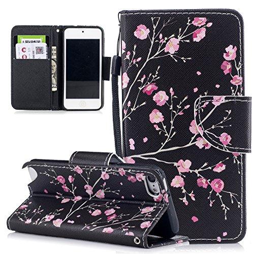 Touch Folio (HongHushop PU Leder Hülle für Apple iPod Touch 6 & iPod Touch 5 Hülle Brieftasche Klapphülle Flip Case Kirschblüte Design Ledertasche Schutzhülle iPod Touch 6 Touch 5 Stand Folio Hülle)