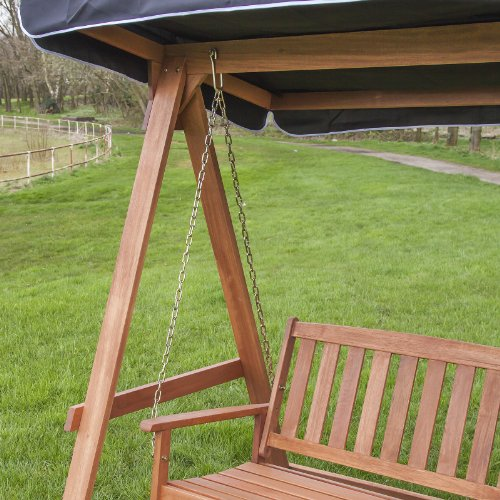 Wooden Swing Seat for 2 with Canopy - Choice of Colours (Grey)
