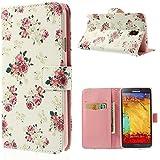 Samsung Galaxy Note 3 Neo Funda Libro de NICA, Carcasa con Tapa Ultra-Fina Flip-Case Cover Cubierta Cuero Sintético Vegan Protectora Bumper para Telefono Movil (NO PARA NOTE 3) - Pretty Roses Edition