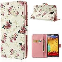 delightable24 Cover Protettiva Bookstyle Flip Case per SAMSUNG GALAXY NOTE 3 NEO Smartphone (non per Note 3!!!) - Pretty Roses Edition