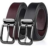 MEIRUIER Cuero Cinturón Reversible,Perfecto Regalo,Cinturon Hombre Cuero Negro Marrón Jeans Reversible Piel para Hombres Clás
