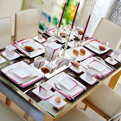 Malacasa, Serie Rebeca 40P, Set 40 tlg. Porzellan Kaffeeservice Frühstück Geschirrset Eckig Teeset für 6 Personen, OHNE KUCHENTELLER ODER SUPPENTELLER - 5