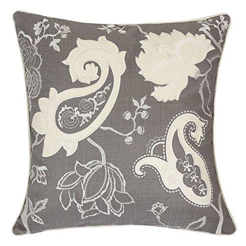 Homey Cozy Stickerei Überwurf Kissen Bezug, Polyester, Polyester-Mischgewebe, Grey Floral, 50,8 x 50,8 cm - Florale Stickerei Kissen