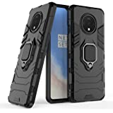 ZIVITE Hybrid Armor Shockproof Soft TPU and Hard PC Back Cover Case with Ring Holder for OnePlus 7T - Armor Black