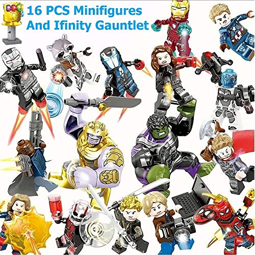 CDFHEW 16 Stücke Minifiguren, Superhelden-Set mit Zubehör, Actionfiguren Bauklötze Kinder Spielzeug, Heroes Set with Accessories, Kids Gift ztte