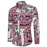 TIFIY Herbst Herren Langarm Gedruckt Shirts Persönlichkeit Herren Sommer Casual Schlank Bedrucktes Shirt Top Luxus Hochzeitsbluse Luxus Übergröße Basic Top Bluse(Wassermelone Rot,3XL)