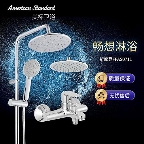 Bijjaladeva Wasserhahn Bad Wasserfall Mischbatterie Waschbecken Waschtischan der Wand angebrachte Dusche Setzt Badewanne Armatur 0711 Drei Funktion Handbrause Kit 0711+S039