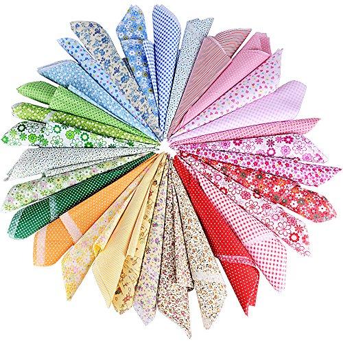 AONER (50cm*50cm 30 PCS Tissu Carré Patchwork 100% Coton Mixtes Coupon Tissu pour DIY Quilting, Loisir Créatifs 90g/㎡
