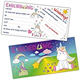 Einhorn Einladungskarten Set XL (24 Stück) - süße Karte mit niedlichem Unicorn, Schloss, Diamanten, Herzen, Regenbogen für Mädchen Kindergeburtstag, Mädels Party, Geburtstag Feier, Einhörner Event