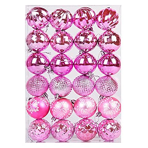 Lot de 24 Boules de Noël de luxe incassables (60mm)