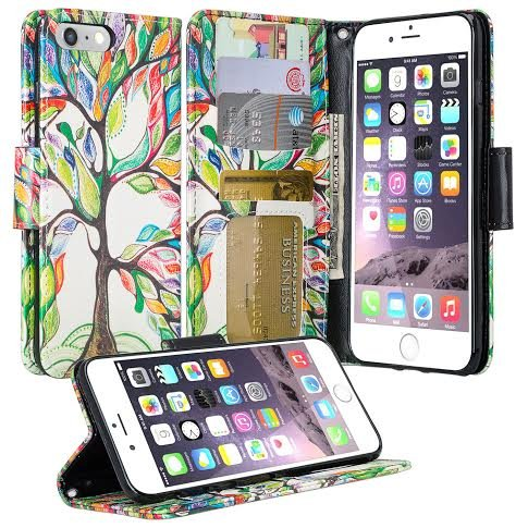 Galaxy iPhone 7 Plus Case, Apple iPhone 7 Plus Wallet Case, Wrist Strap Flip Folio [Kickstand Feature] Pu Leather Wallet Case with ID&Credit Card Slot For iPhone 7 Plus, (Colorful Tree)