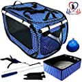 "Pet Fit For Life EXTRA LARGE (32""x19""x19"") Collapsible/Portable Cat Cage/Condo with Portable Litter Box and Bonus Cat Feather Toy and Collapsible Water/Food Bowl Large - 32"" x 19"" x 19"" by Equipt4 LLC"