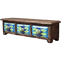 D'CORE CRAFTS Wooden Ceramic Cabinet with 3 Drawers Chest - (15 x 4 x 3.5 Inches)