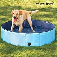 Forever Speed Hundepool Doggy Pool Hunde Pool Swimmingpool Badewanne Pool Φ80/120/160cm Umweltfreundliche PVC (160 * 30cm, Blau)