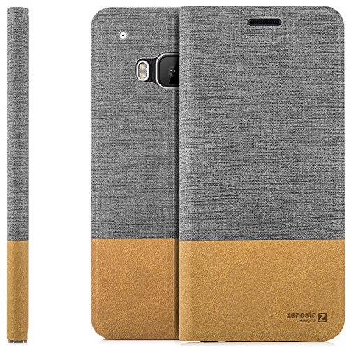 zanasta Designs Tasche HTC One M9 Hülle Flip Case Slim Schutzhülle Handytasche mit Kartenfach, Standfunktion   Grau