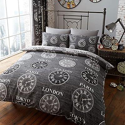 Titanium Clocks Of The World Modern Duvet Cover Bedding Set 3 Colours