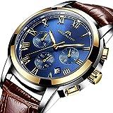 Herren Uhr Lederarmband Männer Sport Chronograph Wasserdicht Armbanduhr Herren Uhren Leuchtend Datum Kalender Analoge Quarz Business Kleid Stoppuhr